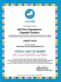 Certificato unicef